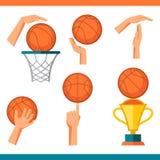 Basketsymbolsuppsättning av gester och symboler in Arkivfoton