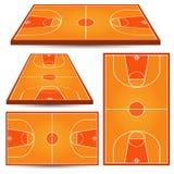 Basketträdomstolbakgrund Isometriskt parkettfält Arkivbilder