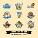 Basketvektor Logo Set Arkivbilder