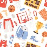 Basketvektorsportswear och boll i netto beslag på uppsättning för illustration för basketdomstol av idrottsmankläder för idrottsh vektor illustrationer