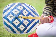 Basketwork, бамбуковый вентилятор Стоковые Изображения RF