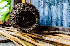 Basketwork. Bamboo fish trap royalty free stock photo