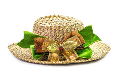 Basketwork hat with bow Stock Photography