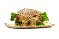 Basketwork hat with bow Royalty Free Stock Image