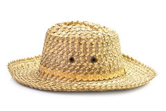 Basketwork hat. Traditional basketwork hat isolated on white background Stock Photography