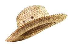 Basketwork hat. Traditional basketwork hat isolated on white background Stock Photos