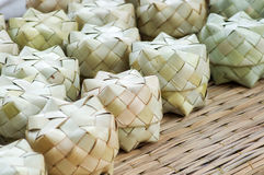 Basketwork. Tradition Thailand basketwork box from palm leaf Royalty Free Stock Images
