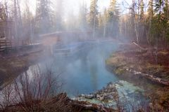 A natural geothermal pond in northern canada Royalty Free Stock Photos