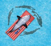 A shark lies on a flotation mattress in a swimming pool as human swimmers circle in the water below. This is a stock illustration