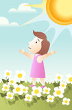 Basking in the sun. Magazine-style illustration of a child basking in the sun Stock Image