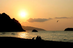 Baskischer Sonnenuntergang lizenzfreie stockfotos