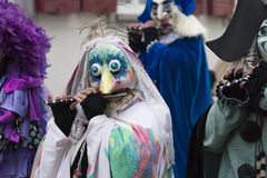 Basel carnival 2016. A piccolo playing participant of the Basel carnival 2016 in a bird like costume Royalty Free Stock Images
