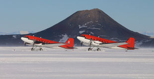 Basler ski planes on the snow runway at McMurdo Royalty Free Stock Photo