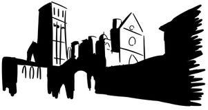 Basílica artística de St Francis em Assisi no preto Imagem de Stock Royalty Free