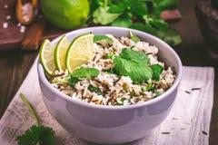 Basmati ασβέστη Cilantro ρύζι στοκ εικόνες
