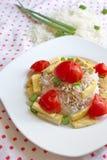 Basmati ρύζι με τα κομμάτια ψημένων tofu, των ντοματών και του κρεμμυδιού Στοκ Εικόνες