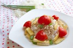 Basmati ρύζι που εξυπηρετείται με το λαχανικό και tofu Στοκ εικόνα με δικαίωμα ελεύθερης χρήσης