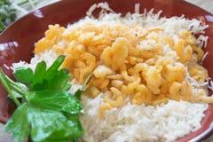 Basmati fried rice with shrimps Royalty Free Stock Image
