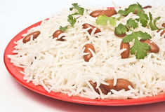 Basmati rice. Pulao in red plate Stock Photos