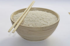 Basmati rice. In chinese pot stock image
