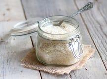 Basmati rice in a glass jar Stock Photo