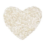 Basmati rice heart isolated on white background Royalty Free Stock Photography