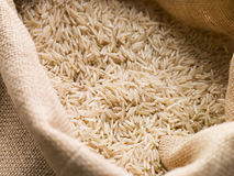 Basmati Rice In Sack. Close Up Of Basmati Rice In Sack Royalty Free Stock Photo