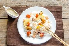 Basmati rice with seafood Stock Photos