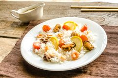 Basmati rice with seafood Stock Images