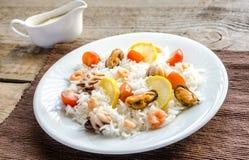 Basmati rice with seafood Royalty Free Stock Photo