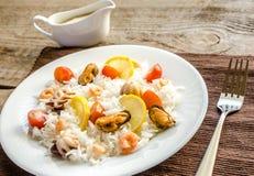 Basmati rice with seafood Stock Photo