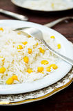 Basmati rice in white plate witn sweet corn Stock Images