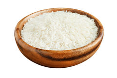 Basmati rice in a wooden bowl Royalty Free Stock Images