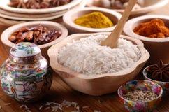 Basmati rice in wooden bowl Stock Image