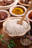 Basmati rice in wooden bowl Stock Images