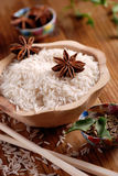 Basmati rice in wooden bowl Stock Photography