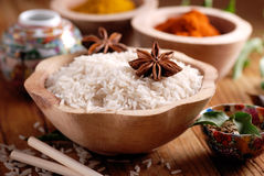Basmati rice in wooden bowl Royalty Free Stock Photography