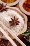 Basmati rice in wooden bowl Royalty Free Stock Photos