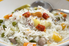 Basmati ricewith vegetable minestrone Stock Images