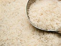 Basmati rijst en gietlepel Royalty-vrije Stock Afbeeldingen