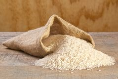 Basmati ris som spiller från säcken Royaltyfria Foton