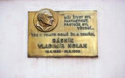 Basnik Vladimir Holan on Kampa Plaque, Prague. Royalty Free Stock Images
