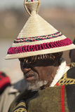 BAsotho man in hat at the King's Parade. A mature Basotho man in a traditional basotho hat and blanket at H.R.H King' Letsie's Birthday Parade in Lesotho Stock Photo