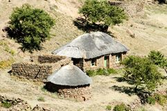 Basotho Traditional  House. One of the many forms of Basotho dwellings, built in modern stye with faced sandstone Stock Photo