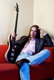 basowej gitary muzyka portret Obrazy Royalty Free