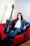 basowej gitary muzyka portret Zdjęcia Royalty Free