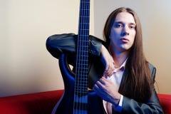 basowej gitary muzyka portret Zdjęcie Royalty Free
