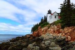 Basowy latarni morskiej Acadia park narodowy Zdjęcia Royalty Free