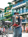 Basque accordionist in a street of Fuenterrabia, Guipuzcoa. Spain Royalty Free Stock Photos