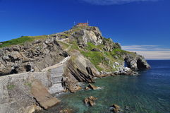 Basque atlantic coast. St Juan Gaztelugatxe, Spain Royalty Free Stock Images